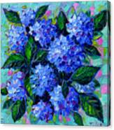 Blue Hydrangeas - Abstract Floral Composition Canvas Print