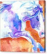 Blue Jumping Paint Canvas Print