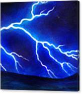 Blue Lightning Above The Ocean Canvas Print