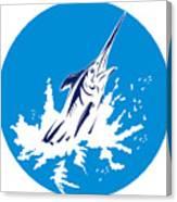 Blue Marlin Circle Canvas Print