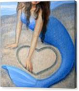 Blue Mermaid's Heart Canvas Print