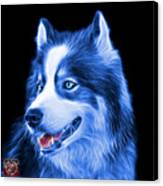 Blue Modern Siberian Husky Dog Art - 6024 - Bb Canvas Print