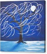 Blue Moon Willow In The Wind Canvas Print