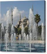 Blue Mosque Through The Fountain Canvas Print