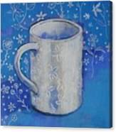 Blue Mug With Flowers Canvas Print