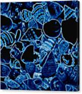 Blue Neon Shells Canvas Print