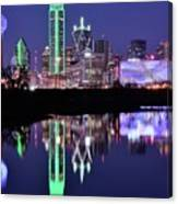 Blue Night And Reflections In Dallas Canvas Print