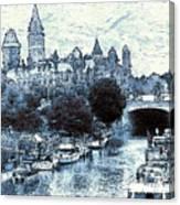 Blue Ottawa Skyline - Water Color Canvas Print