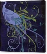 Blue Peacock Art Nouveau Canvas Print