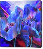 Blue Poppies On Red Canvas Print