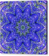 Blue Purple Lavender Floral Kaleidoscope Wall Art Print Canvas Print