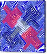 Blue Red And White Janca Abstract Panel Canvas Print