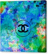 Blue Red Black Chanel Logo Print Canvas Print