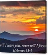 Blue Ridge Parkway Nc Sunset Inspiration Canvas Print