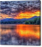 Blue Ridges Lake Junaluska Sunset Great Smoky Mountains Art Canvas Print