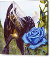 Blue Rose Unicorn Canvas Print