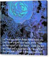 Blue Rose With Scripture Canvas Print