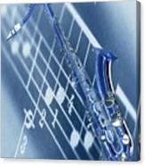 Blue Saxophone Canvas Print