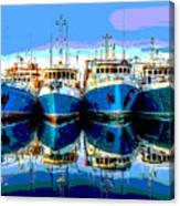 Blue Shrimp Boats Canvas Print