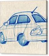 Blue Sketch Of A Car From Left Rear View With A Rear Aerial  Canvas Print