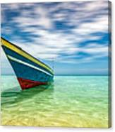 Blue Sky, Green Water And Iconic Boat Canvas Print