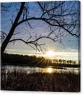 Blue Sky Sunrise On The Marsh Canvas Print