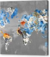 Blue Street Art World Map Canvas Print