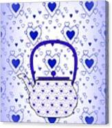 Blue Teapot - Kitchen Canvas Print