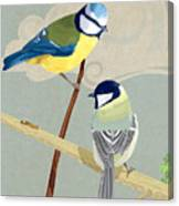 Blue Tit And Great Tit Canvas Print