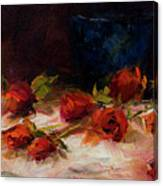 Blue Vase And Red Roses Canvas Print