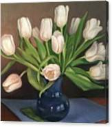 Blue Vase, White Tulips Canvas Print