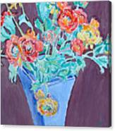 Blue Vase With Flowers Canvas Print
