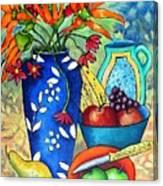 Blue Vase With Orange Flowers Canvas Print