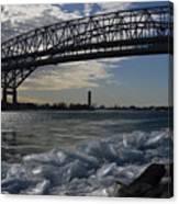 Blue Water Bridge In Winter Canvas Print
