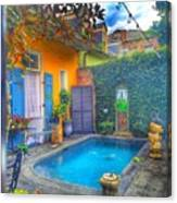 Blue Water Courtyard Canvas Print