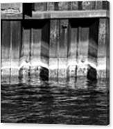 Blue Water Retaining Wall 4 Bw Canvas Print