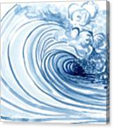 Blue Wave Modern Loose Curling Wave Canvas Print