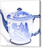 Blue Willow Teapot Canvas Print