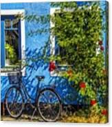Blue Window With Bike Canvas Print