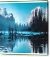 Blue Winter Fantasy. L A With Decorative Ornate Printed Frame. Canvas Print