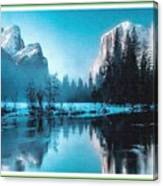 Blue Winter Fantasy. L B With Decorative Ornate Printed Frame. Canvas Print
