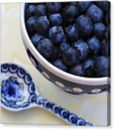 Blueberries And Spoon  Canvas Print