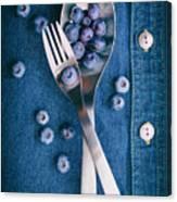 Blueberries On Denim II Canvas Print