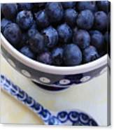 Blueberries With Spoon Canvas Print