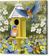 Bluebird Garden Home Canvas Print