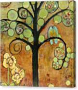Bluebirds In Paradise Tree Canvas Print