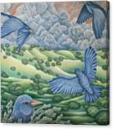 Bluebirds Of Happiness Canvas Print
