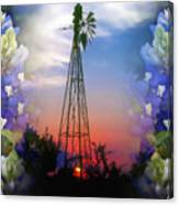 Bluebonnets And Windmill Canvas Print