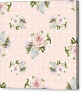 Blush Pink Floral Rose Cluster W Dot Bedding Home Decor Art Canvas Print
