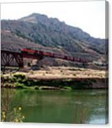 Bnsf Train Along The Wind River Canvas Print